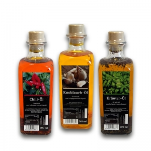 Öl Sparpaket - Chili-Kräuter-Knoblauch - aus kaltgepresstem Rapsöl  3x500ml